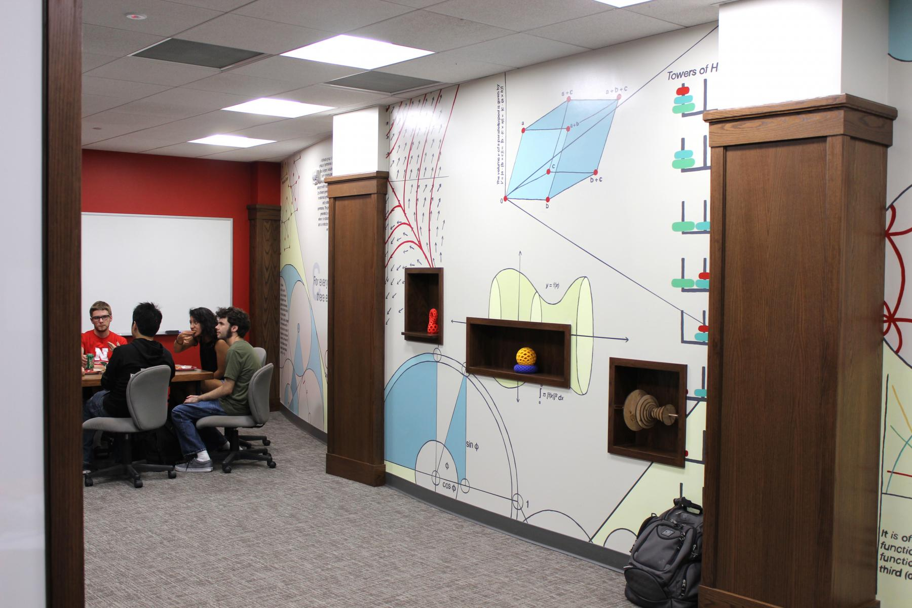 Hand-painted mural in the new Math lounge