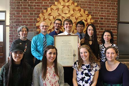 Eleven students were inducted into the Nebraska Alpha Chapter of Pi Mu Epsilon on Nov. 1, 2017.