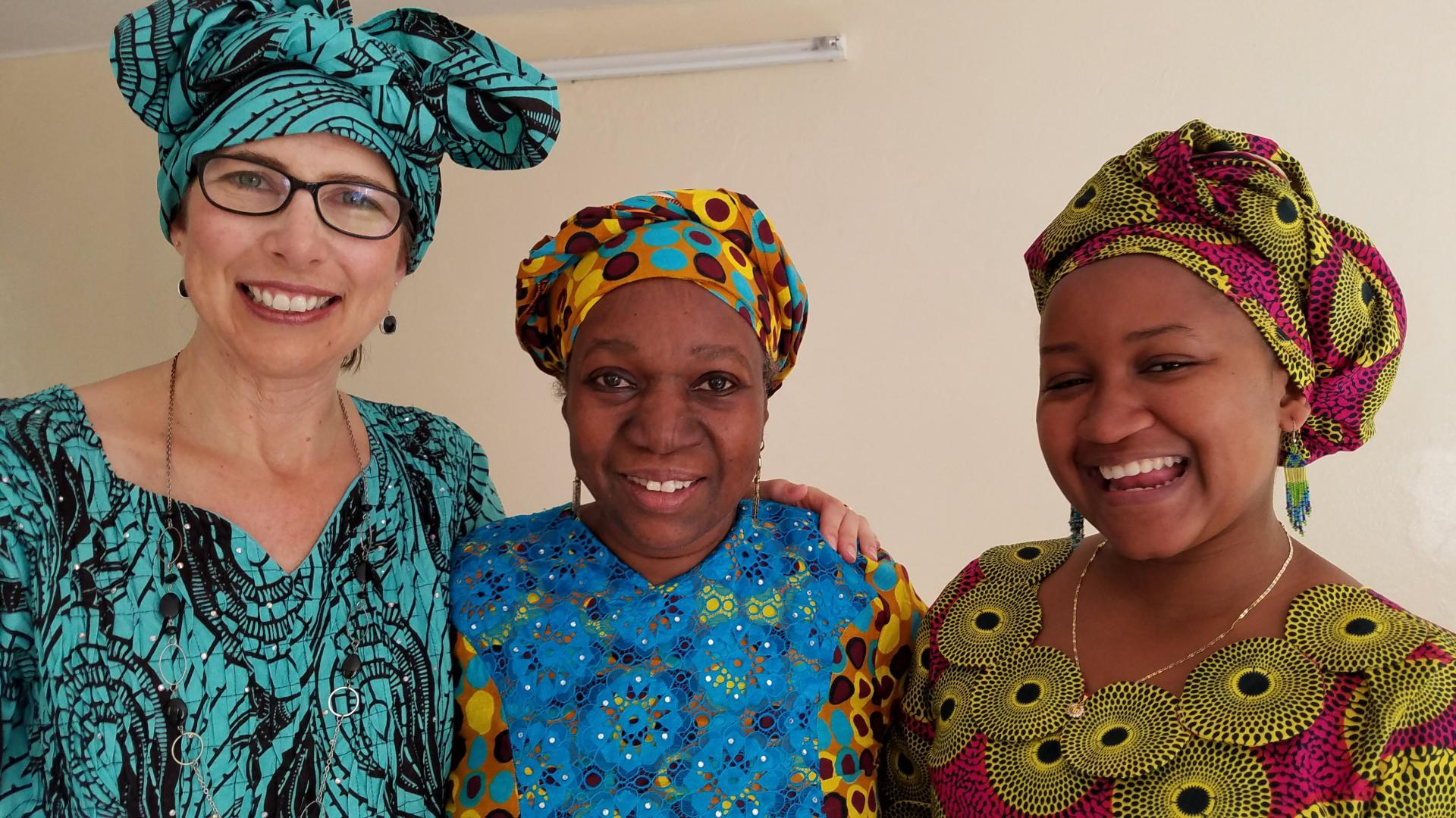 Michelle Homp (left) with Masake (Kane) Ly (far right), the Afrimath founder and director.