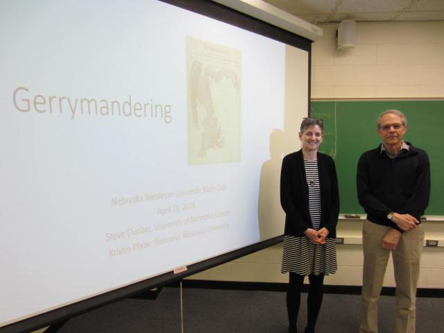 Since Steve Dunbar, professor emeritus of the Department of Mathematics at the University of Nebraska–Lincoln, and Kristie Pfabe, professor and department chair of mathematics at Nebraska Wesleyan University, discovered their shared interest in the subject of gerrymandering, they have given a talk to 22 different groups since 2018.